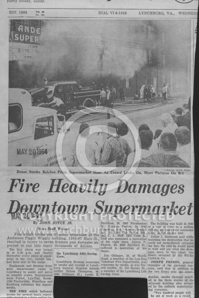 : Piggly-wiggly main st fire 1964