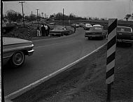 : Car over bank at bridge, Jan 15, 1966