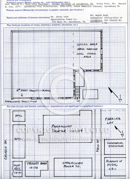 : Trolley barn site plan and plan