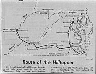 Amtrak Hilltopper Route - June 1977