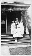 Four Young Girls and Man on Porch