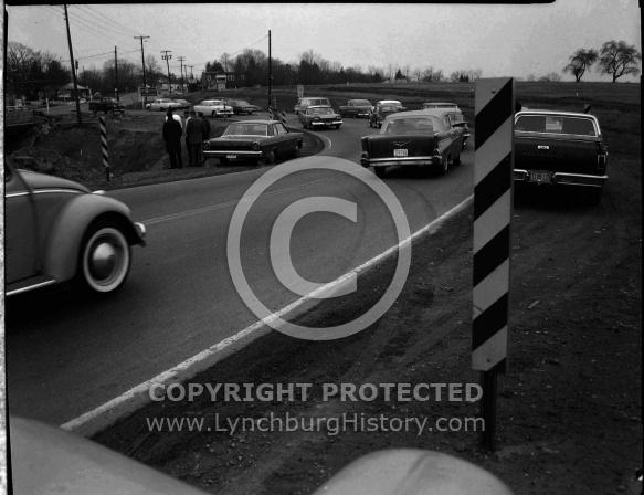 : Car over bank at bridge, Jan 15, 1966
