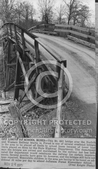 Bridge in Forest Over N&W Tracks - 1973