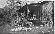 Chickens - Man on Porch