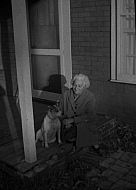 : Miss Bowles & Pinkie dog, Nov, 1966